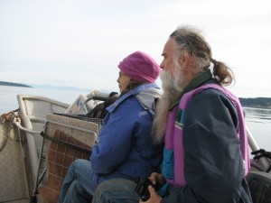 New docents, Barb abd Buzz, watch porpoises off the bow of the Sea Bass.