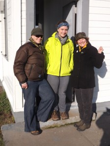 Erin, Christina and Linda at the lighthouse door