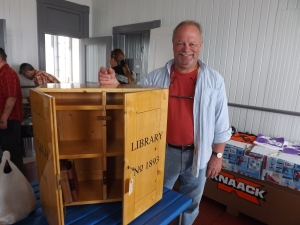 Ross and his beautiful Traveling Library Box!